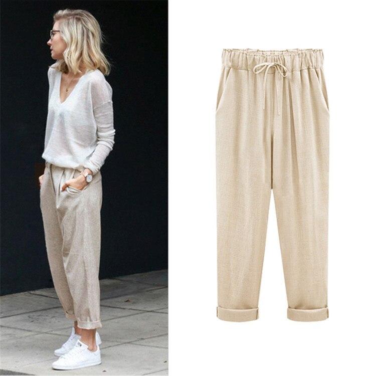 Extra-Large Size Cotton Linen WOMEN'S Pants Spring Clothing Fat Mm 200 Thin Harem Pants Loose-Fit Capri Pants Summer Trousers
