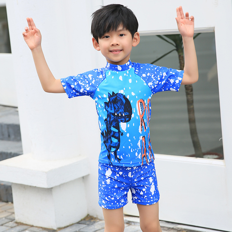 KID'S Swimwear BOY'S Swimming Trunks Set Boy Split Type Big Boy Little Dinosaur Tour Bathing Suit Baby Sun-resistant Swimwear