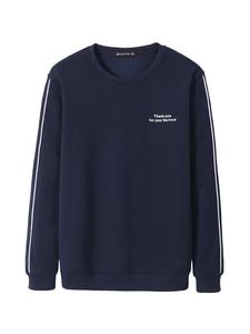 Image 3 - Pioneer Camp 2020 Autumn Hoodies Men Casual Crew Neck Dark Blue Letter Pattern Stripe Fleece Cotton Sweatshirt Male AWY902241