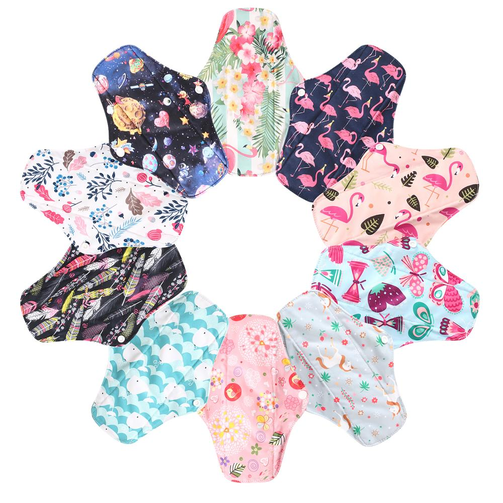 Ohbabyka S M L Reusable Pads Bamboo Charcoal Cloth ,Stay Dry Super Absorption Healthy Mum Use Pads Flamingo Unicorn Sanitary Pad