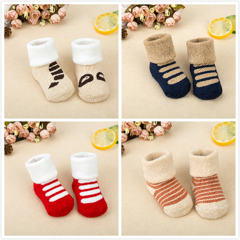 0-3 Years Baby Socks Newborn Cotton Winter Autumn Girls Boys Kids Socks Infant Warm Slippers Children Thicken Socks