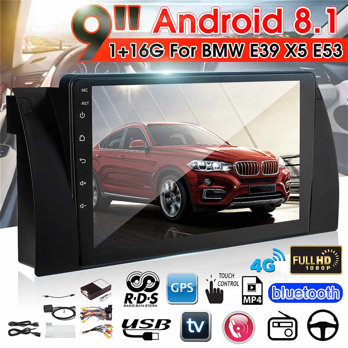 9 Android 8.1 Car Multimedia Player Car Radio Stereo MP5 Player Autoradio Quad Core 1+16GB Wifi GPS For BMW E38 E39 E53 X5 image
