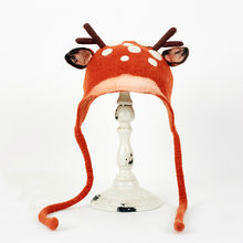 Cartoon Deer Design Bomber Hats Female Kawaii Vintage Cap Cute Lace-Up Antlers Winter Warm Hat Autumn Cap Headdress for Ladies(China)