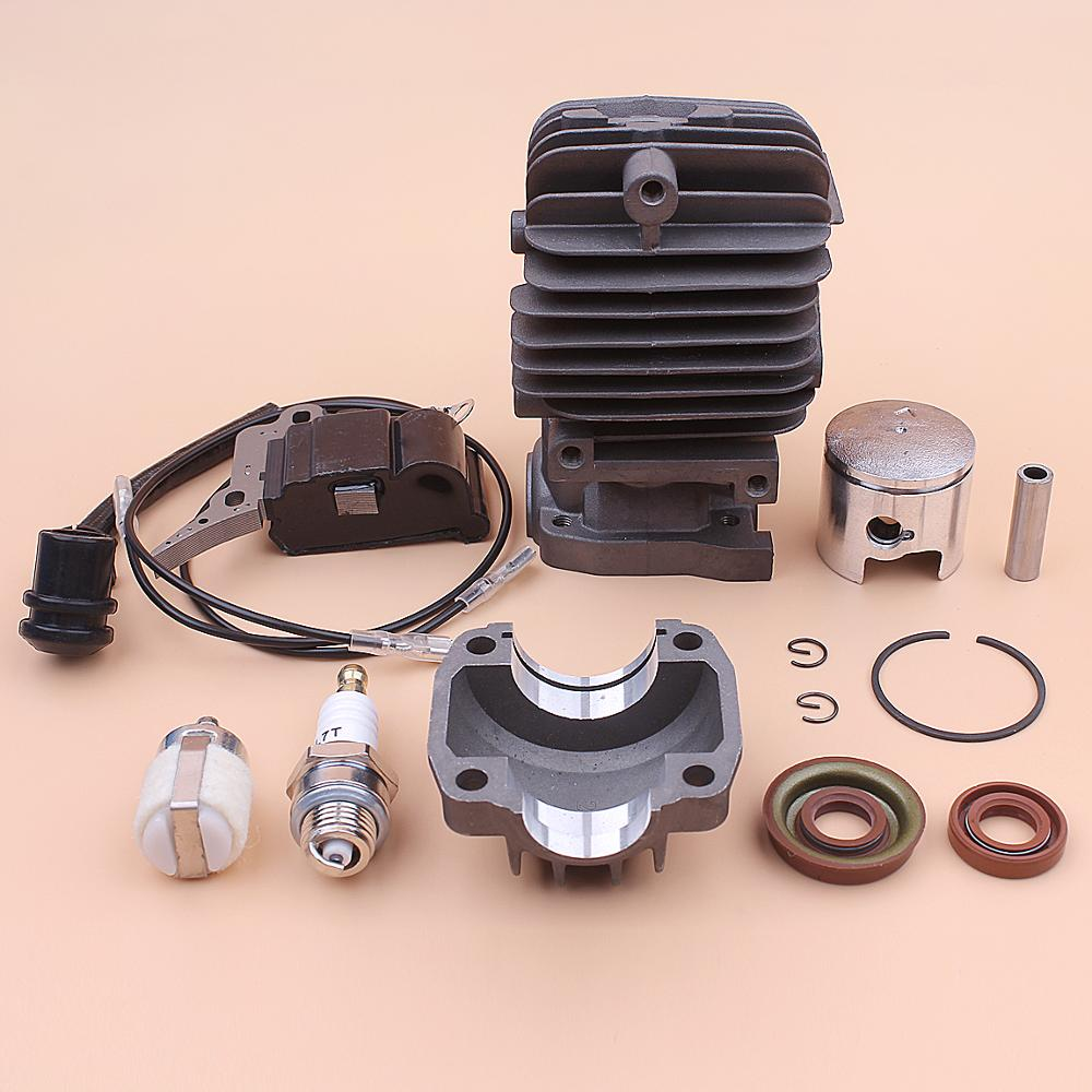 34mm Cylinder Piston Engine Pan Base Kit For Chinese 2500 25cc Ignition Coil Fuel Filter Spark Plug Oil Seal Set Chainsaw Part