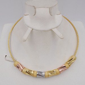 Image 4 - Hoge Kwaliteit Ltaly 750 Goud kleur Sieraden Voor Vrouwen afrikaanse kralen jewlery mode ketting set oorbel sieraden