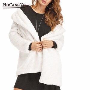 Image 2 - Hcyo秋冬女性の毛皮のコートプラスサイズ3XLくるみボタン毛皮フェイクファーのコート女性のロングルーズソフトウサギの毛皮のコート