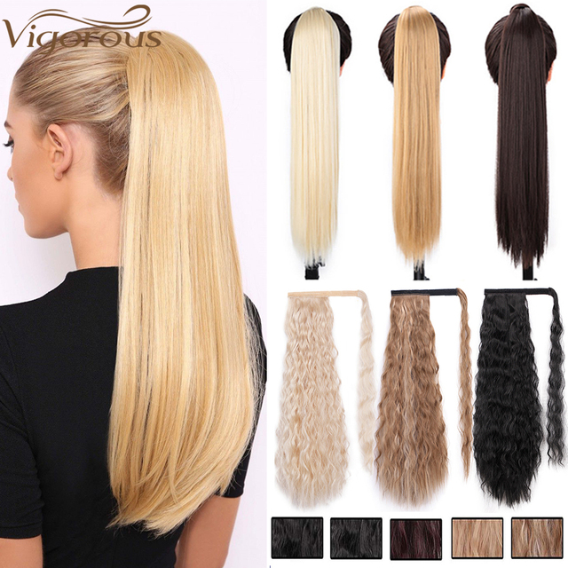 Vigorous Corn Wavy Long Ponytail Synthetic Hairpiece Wrap on Clip Hair Extensions Ombre Brown Pony Tail Blonde Fack Hair 4