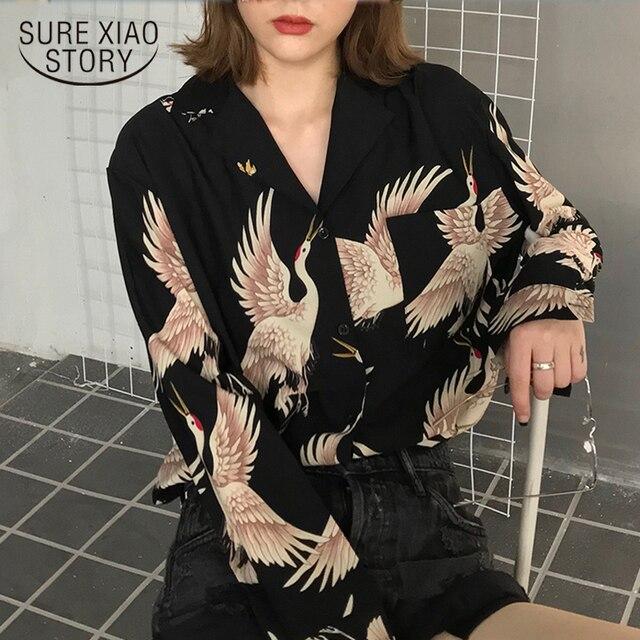 Vintage Printed Fashion Women Blouses 2021 women Long Sleeve Shirts print Chiffon blouse women ladies Loose Femme top 0845 30 1