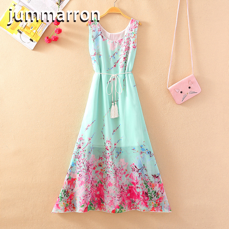 jummarron 2020 Summer new loose home breathable <font><b>dress</b></font> light clothes Korean of high waist slimming knee plus size women <font><b>dresses</b></font> image