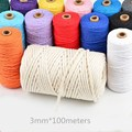 3mm 100% Cotton Cord Colorful Twisted Rope Thread Boho Deco DIY Handmade Craft Home Textile Wedding decoration Supply 100 Meters