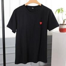 Модная футболка из чистого хлопка; Повседневная дышащая с вышивкой