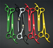 цена на Purple Dragon Professional 6 inch hair scissors set Straight Thinning Hairdressing Barber scissors Hair Cutting Shears