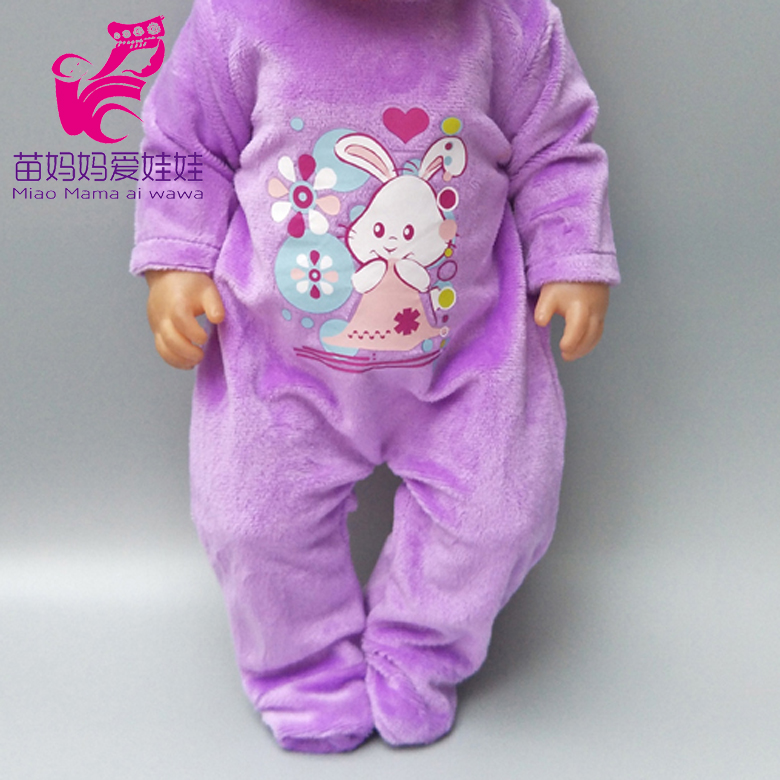 18 Inch  Dolls Clothes Winter Purple Fur Pajama Sets For 18
