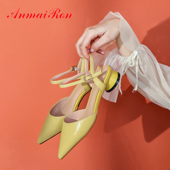 ANMAIRON Party High Heels Pointed Toe Genuine Leather Luxury Shoes Women Designers Slingbacks PU Sexy Heels Pumps Women Shoes