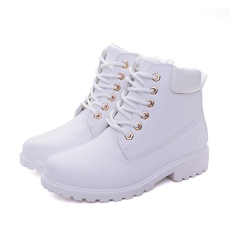 Dantel-up yarım çizmeler kadınlar için 2019 yeni moda sıcak kış botları kadınlar katı kare topuk ayakkabı kadın artı boyutu zapatos de mujer