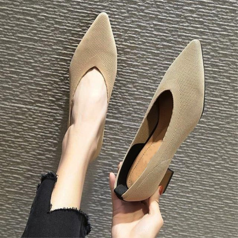 EOEODOIT 2020 Fashion Stretchy Fabric Pumps Women Pointy Toe Med Chunky Heels Slip On Sexy V Mouth Casual Office Lady Work Shoes