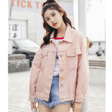 Female Denim Jacket Embroidery Letters Harajuku Yellow Beige Pink Coat Casual Boyfriend Jeans Jacket Women Windbreaker Outwear cheap REGULAR women jacket STANDARD Single Breasted Outerwear Coats Loose Streetwear Pockets Jackets Polyester Solid Turn-down Collar