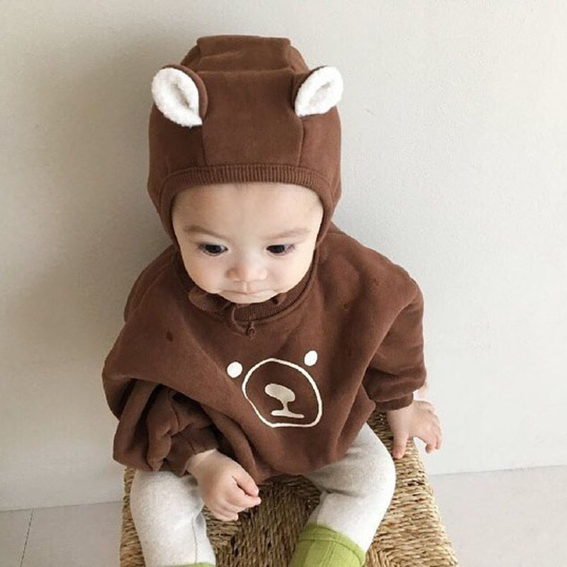MILANCEL  Baby Clothes Cartoon Style Baby Bodysuits Fur Lining Baby Jumpsuits Infant Baby Outfit With Hat
