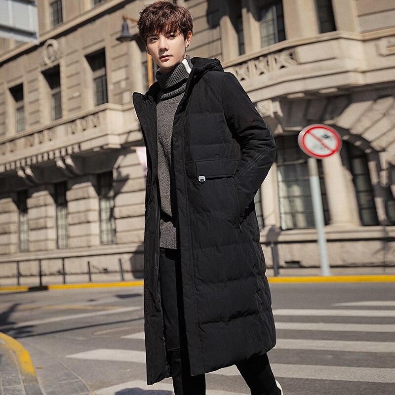 Hiver nouveau hommes long coton costume mince à capuche long manteau veste décontracté rue coupe vent 2019 hiver beau manteau chaud - 2