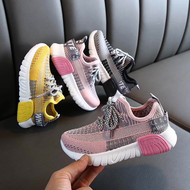 KushyShoo Children Sport Shoes 2020 Spring Boys New Fly Woven Breathable Casual Dad Shoes Kids Shoes For Girl Toddler Sneakers