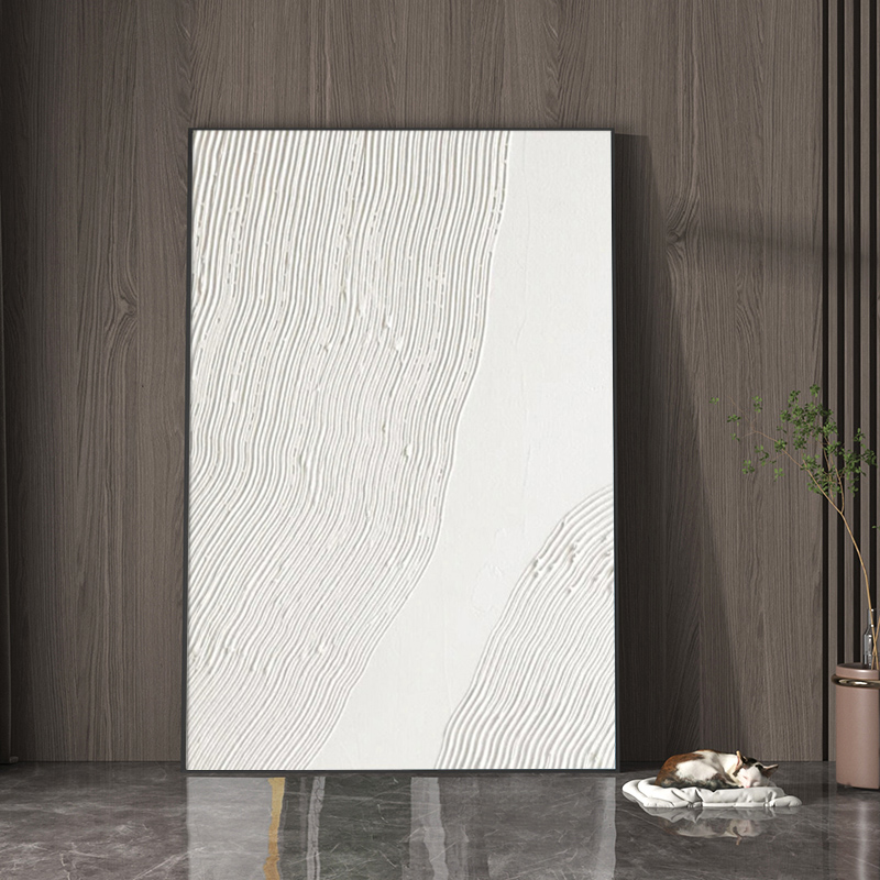 Hand Painted Abstract Painting On Canvas Art White Art 3D Textured Palette Knife Painting Modern Art Wall Art Hotel Home Decor