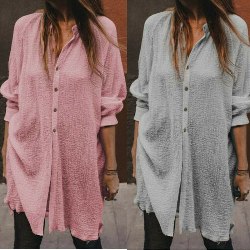 Women Plus Size Spring Autumn Long Shirt Lady Girls Fashion Casual Long Sleeve Tunic Shirts Blouse Female Party Club Loose Solid