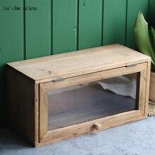 Gabinete vintage de madera hecho a mano con puerta de vidrio