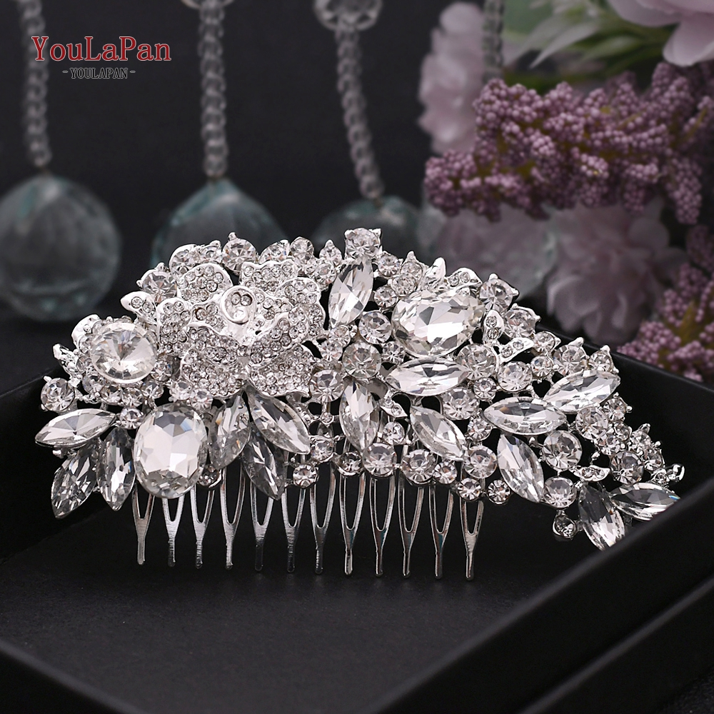 TOPQUEEN Women Hair Accessory Silver Diamond Wedding Hair Pins Clip Bridal Diamante Crystal Slide Comb For Female HP300
