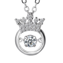 Fashion Silver Rotating Zircon Pendant Necklace For Women Princess Crown Pendant Choker Necklace Jewelry Luxury Choker Necklaces(China)