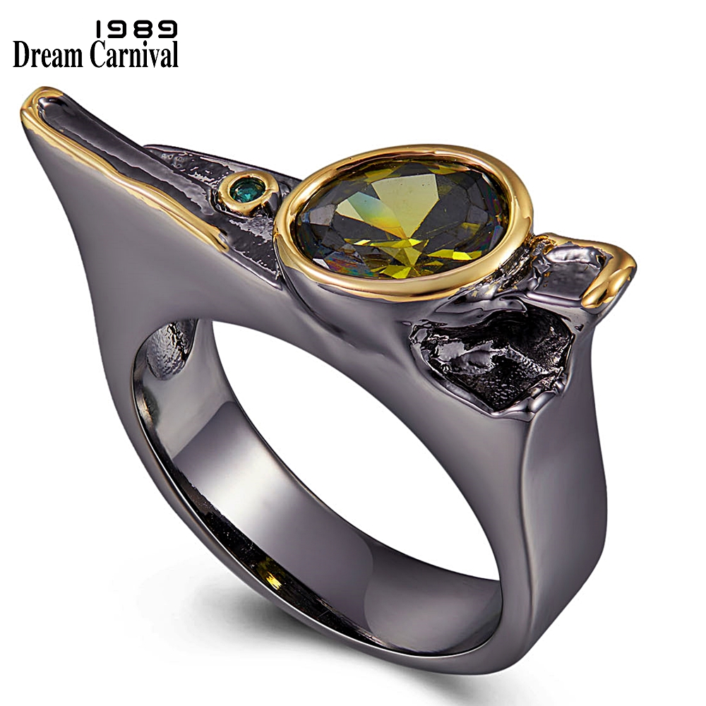 DreamCarnival1989 Exaggerated Personality Cubic-Zirconia-Ring For Women Wedding-Engagement Jewel Black-Gold Gothic Rings WA11778