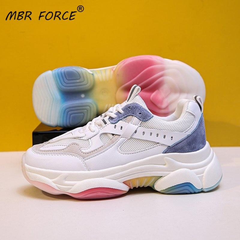 MBR FORCE/женские кроссовки на массивном каблуке; Цвет радуги; Сетчатая обувь из натуральной кожи с круглым носком на шнуровке; Женская Повседне...