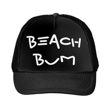 Beach Bum Letters Print Baseball Cap Trucker Hat For Women Men Unisex Mesh Adjustable Size Drop Ship Black White M-12(China)