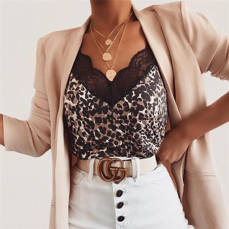 Fashion Women Summer Lace Top Leopard Print Tank Elegant Loose Vest Ladies V Neck Strappy Camisa Feminina Debardeur Female