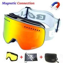 Magnetyczna podwójna warstwa soczewki gogle narciarskie maski przeciwmgielne UV400 gogle snowboardowe gogle narciarskie okulary dla mężczyzn kobiety z przypadku obiektywu