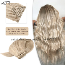 Neitsi Clip On Human Hair Extensions Piano Color 7PCS 16