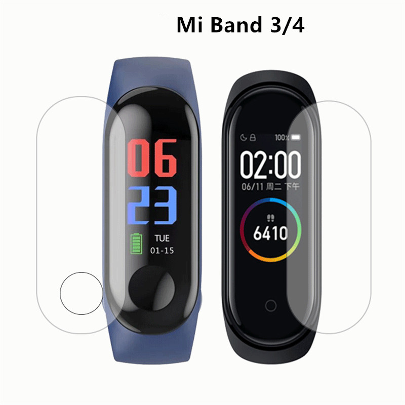 Protective-Film Mi-Band Transparent Xiaomi Scratch-Resistant for 3/4 Sreen title=