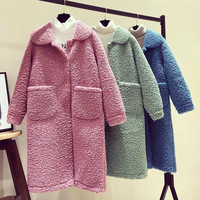 2019 NEW Autumn Winter Coat Women Jackets Loose Thick Korean Long Faux Fur Lamb Coats female Outerwear V1160