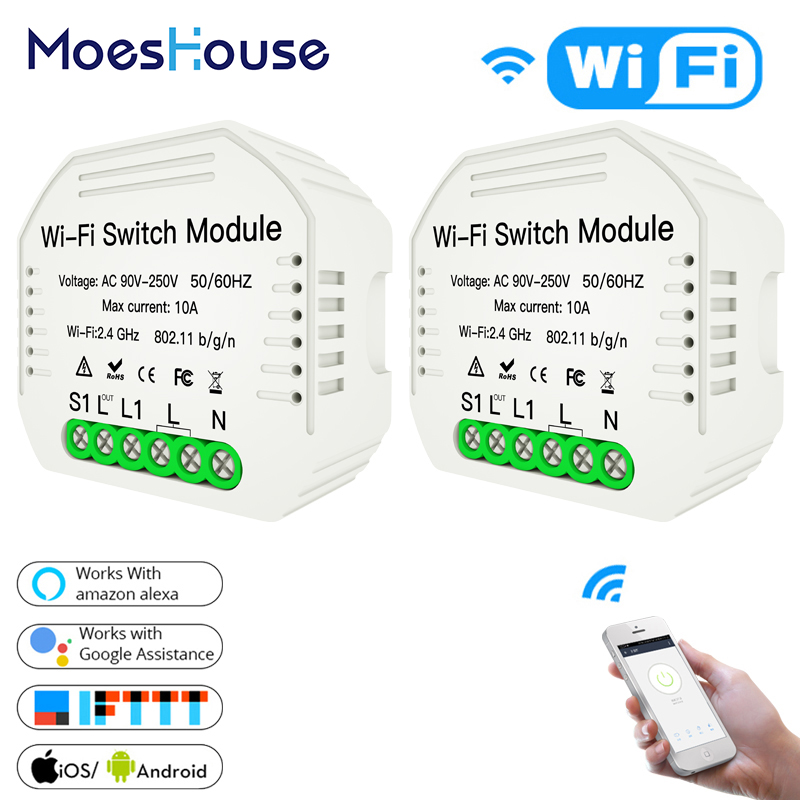2 Way Wifi Smart Light Switch Diy Breaker Module Smart Life Tuya APP Remote Control Works With Alexa Echo Google Home 2 Pack