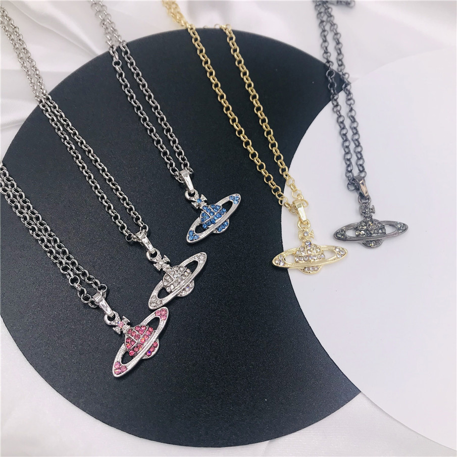 Retro Planet Pendant Necklace Female Party Jewelry Luxury Choker Crystal Saturn Chain Heart Necklace for Women Birthday Gift