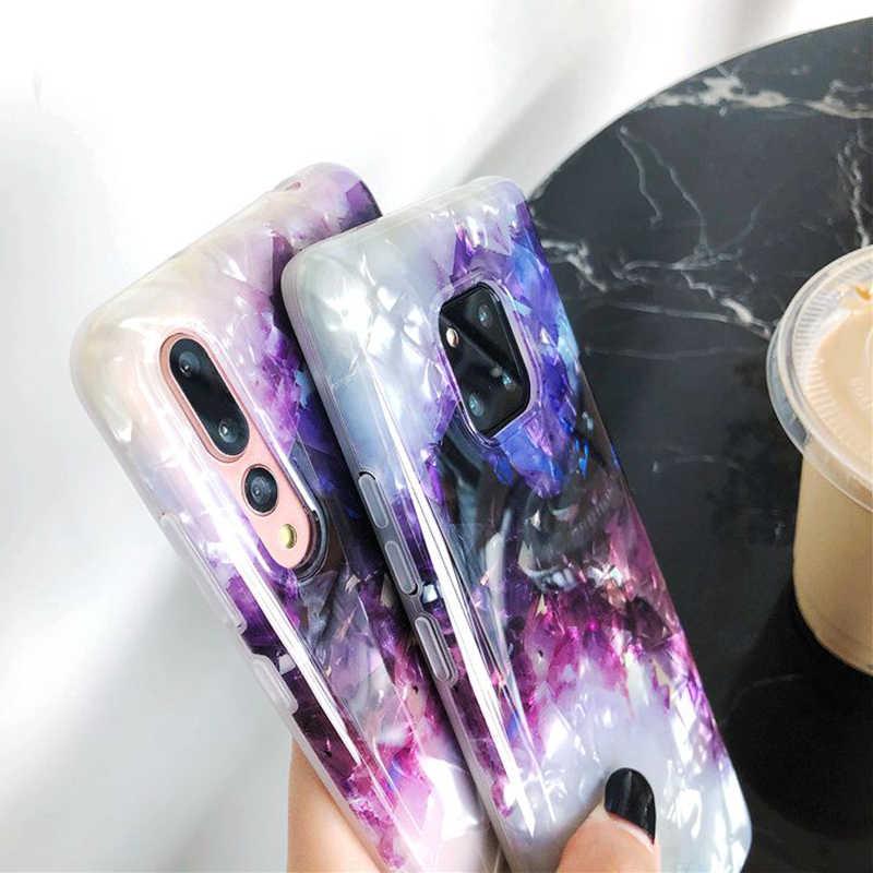 Funda de teléfono de moda Dream Conch brillante para Huawei P30 P20 Pro Mate 20 Pro suave IMD púrpura funda trasera Coque para Huawei Honor 10