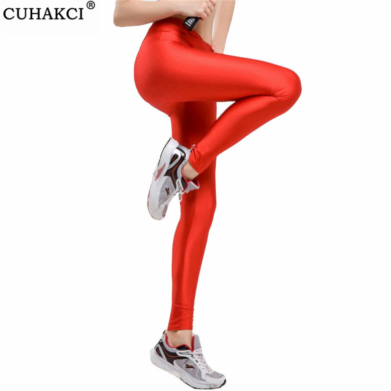 CUHAKCI Sportswear Pants Workout Leggings Women V High Waist Fitness Jegging Elastic Strtched Shiny Candy Color Push Up Legging