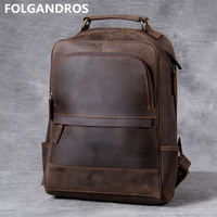Men's Crazy Horse Leather Backpack Handmade Original Genuine Leather Large Capacity Laptop Computer Backpack Vintage School Bag