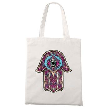 Ladies Handbags Cloth Canvas Tote Bag Hamse Hand Fatima Print Fabric Reusable Shopping for Women 2020 Beach