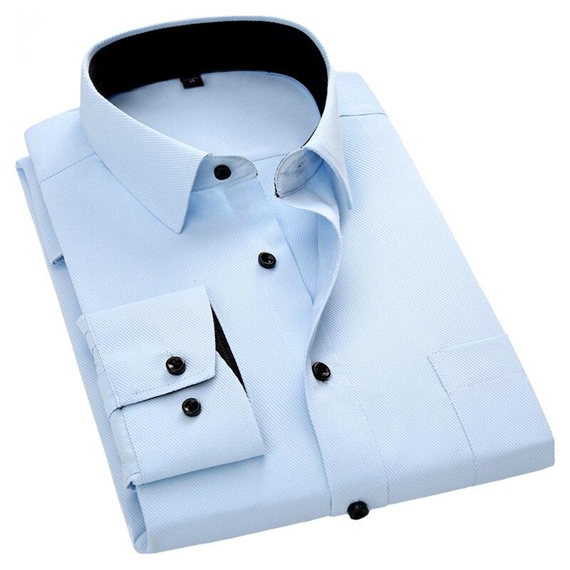 Men's Long Sleeve Casual Shirt Twill Solid Black Button Design Male Social Slim Fit Business Dress Shirt