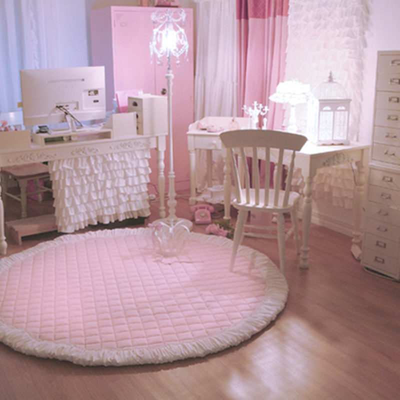 New Princess Carpet Bedroom Pink Rug Sweet Living Room Tapetes Children Crawling Pad Soft Wedding Decorative Rugs Floor Mats