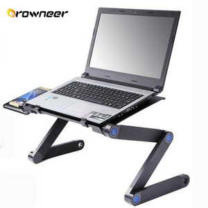 360 Degree Adjustable Laptop Desk Portable Folding Computer Stand Ventilation Holes 3 Knobs Side Tables Tray Ergonomic Design