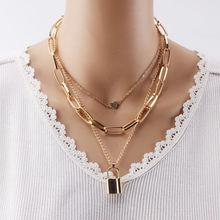 Женская цепочка с подвеской замком ожерелье золотого цвета в
