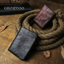GROJITOO Handmade  men's short wallet genuine leather vertical casual zipper wallet youth personalized soft leather purse