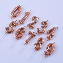 Rose Gold Happy Birthday Number Cake Candles 0 1 2 3 4 5 6 7 8 9 Cake Topper Kids Girls Boys Bar Baby Party Supplies Decoration