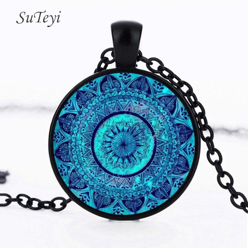 SUTEYI Vintage Glass Dome Necklace Buddhism Chakra Glass Cabochon Pendant Jewelry Om India Yoga Mandala Necklaces For Unisex 5